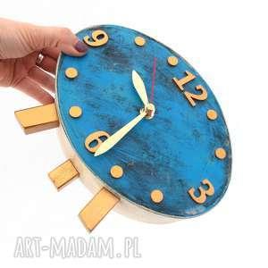 zegar drewniany elipsa, zegar, drewno, prezent, vintage styl, dla niej