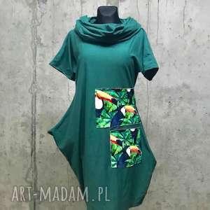 sukienka -tukan, boho sukienka, etno dresowa zielona, midi