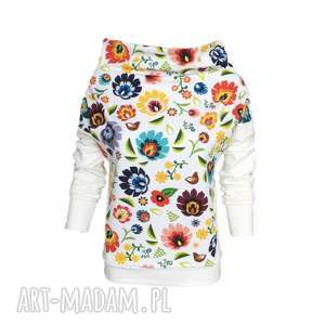 Folkowa bluza z kominem ecru, folk, łowicz, motyw-łowicki, bluza-folkowa, kwiaty