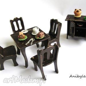 drewniane mebelki dla lalek - jadalnia, mebelki, domek, dziecko