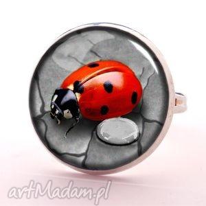 biedronka -pierścionek regulowany egginegg, szkło, prezent natura
