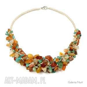 kolory jesieni - naszyjnik z karneolem - minerały, jesienny, ekologiczny, len