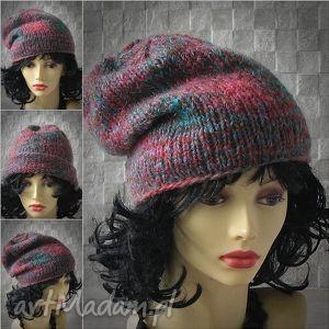 czapka wykonana ręcznie beanie slouchy - czapka, slouchy, beanie, zima, miękka