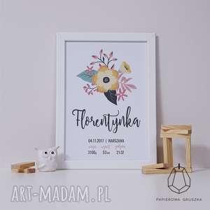 metryczka kwiaty i - metryczka, plakat, obrazek, prezent, chrzest, roczek