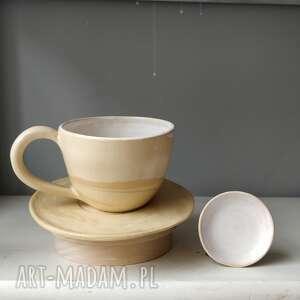 filiżanka ze spodkiem i malutką miseczką, filiżanka, ceramiczna