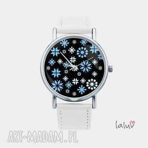 zegarek z grafiką śnieg, mróz, zima, płatki, święta, świąteczny, prezent