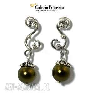Zielone perły, srebro, sztyfty, stylowe, eleganckie