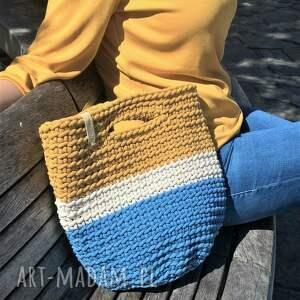 szydełkowa torba na lato, do ręki, trzy kolory, shopper bag