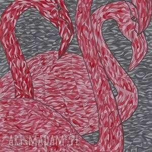obraz akrylowy 54cm x 35cm flamingi, obraz, akryl, ptaki, flamingi