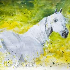 NA ŁĄCE obraz akwarelami artystki plastyka Adriany Laube, akwarela, koń, zwierzęta