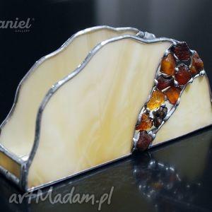 handmade witraże serwetnik witrażowy amber