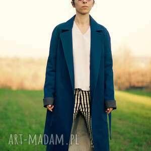 niebieski z lisem - lis, zwierzę, wiosenny, trench, bawełna