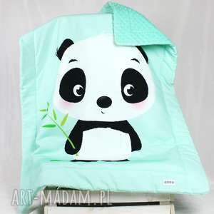 Kocyk Minky 100x75 Panda Mint, kocyk, minky, panda, dziecko, niemowlak, panelowy