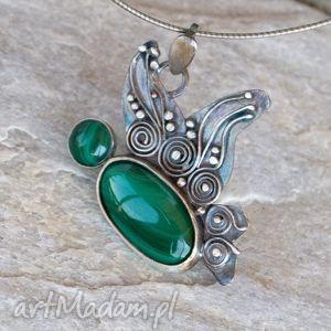 wisiorki malachitowy motyl wisior b805, wisiorek, oryginalny, srebrny, malachit