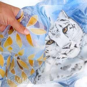 szal jedwabny pantera śnieżna, z jedwabiu, szal, malowany jedwab