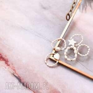 pierścionek - perły, masa perłowa, elastyczny, biżuteria