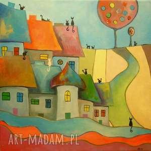 Obraz na płótnie - WESOŁE MIASTECZKO KOTÓW 40/40 cm, abstrakcja, obraz, domki, koty