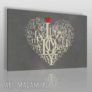 obraz na płótnie - serce i love you 120x80 cm 75401, serce, napisy, miłość