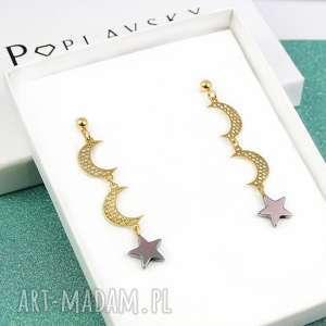 poplavsky kolczyki 2 księżyce gwiazda srebro 925, kolczyki, księżyc, srebro