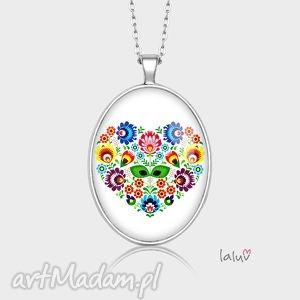 medalion owalny love slavic - serce, kwiaty, etniczne, folk, ludowe, grafika