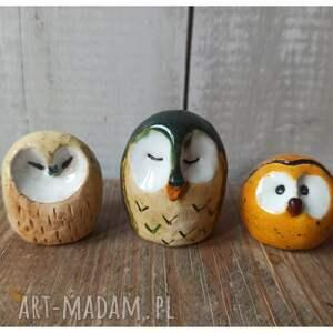 wyjątkowy prezent, sówki trio, ceramika, sowa, las, ptak