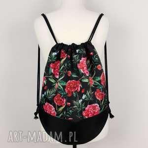 plecak worek piwonie - ,plecak,worek,kwiaty,piwonie,wodoodporny,
