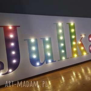 napis led twoje imię tęczowe świecące litery obraz dekoracja lampa personalizowany