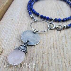 kwarc z lapis lazuli - naszyjnik, srebro oksydowane