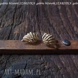 kolczyki uskrzydlone ze złoconego srebra, srebro, złocone, skrzydła