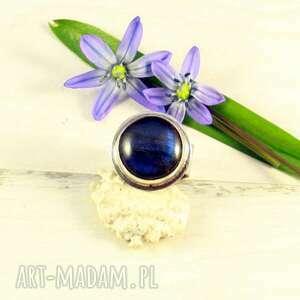 spokojny labradoryt codzienny, srebrny pierścionek, labradoryt, niebieski