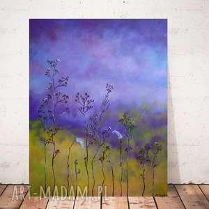 ŁĄKA W FIOLETACH -obraz akrylowy formatu 40/50 cm, łąka, obraz, abstrakcja, akryl