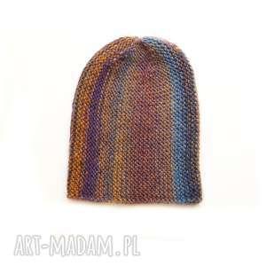 czapka multikolor no 1, czapka, dziergana, unisex, kolorowa, wełniana, prezent na