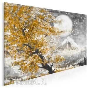 obraz na płótnie - japonia wiśnia pejzaż brązowy 120x80 cm 89907