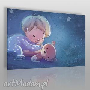obrazy obraz na płótnie - dla dzieci chłopiec miś 120x80 cm 38501, chłopiec