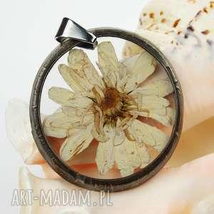 Prezent Naszyjnik z suszonymi kwiatami , Herbarium Jewelry, kwiaty w żywicy z1026