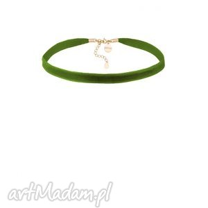 OLIWKOWY AKSAMITNY CHOKER Z REGULOWANYM ZAPIĘCIEM, oliwkowy, modny, minimalistyczny