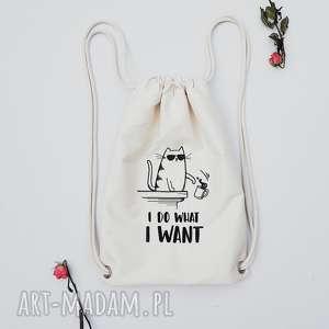 i do what i want - ,kot,kotek,meow,plecak,worek,haft,