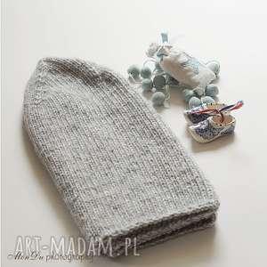 unikalny prezent, czapki jesienna popielata, jesienna, bawełniana, męska, dziergana