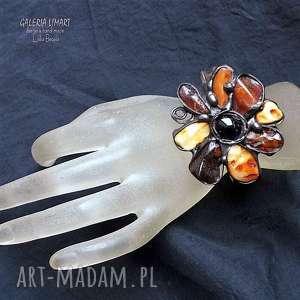 prezent byrsztynowy słonecznik na ręku bransoletka efektowna, unikatowa