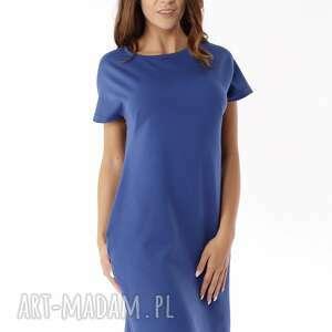 Sukienka dresowa z zamkami niebieska 004 sukienki ella dora