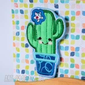Broszka - Kaktus (1), broszka, kaktus, kwiat, aplikacja, bawełna, filc