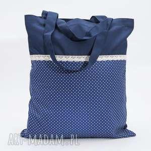 Siatka niebieska z kropkami, koronką, siatka, torba, koronka, kropki, pikowana