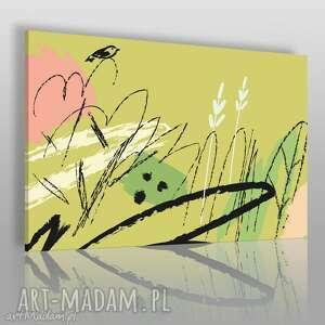 obraz na płótnie - abstrakcja liście zielony 120x80 cm 55001