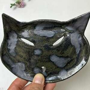 ceramika ceramiczna mydelniczka black cat, polskie rzemiosło, polska