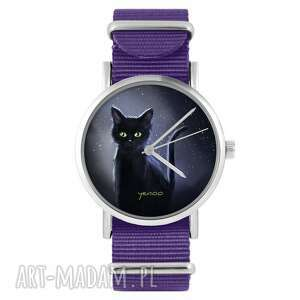 zegarki zegarek - czarny kot, noc fioletowy, nylonowy, zegarek, nylonowy pasek
