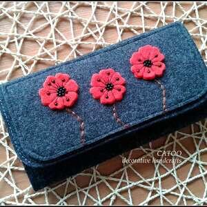 portfel z makami, portfel, maki, catoo, prezent, kwiaty, filc