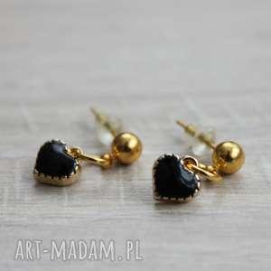 kolczyki czarne mini serca kolczyki, serca, serduszka, mini, sztyfty, wkrętki