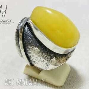 unikatowy srebrny 925 pierścionek z bursztynem rękodzieło, bransoleta ze srebra
