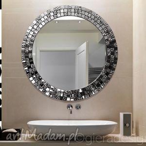 Lustro mozaikowe Aurea, lustro, kryształowe, mozaika, błyszczące, glamour, okragłe