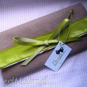 kopertówka petit skóra limonka beż pleciona floral, kopertówka, bow